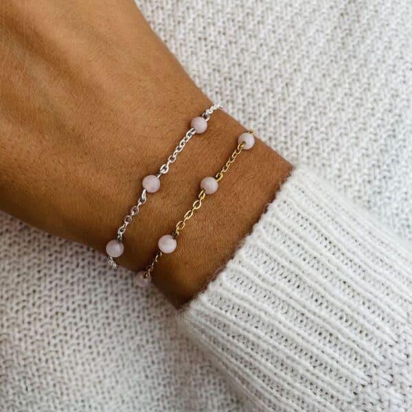 bracelet anthéa quartz rose 4mm