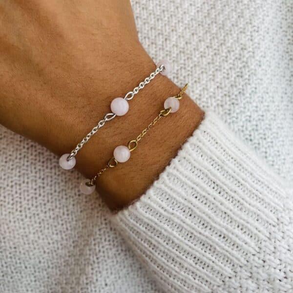 bracelet anthéa quartz rose 6mm