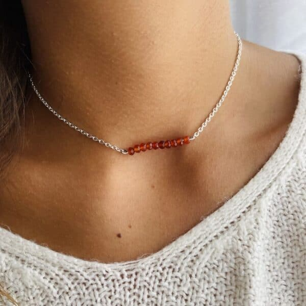 collier agate rouge