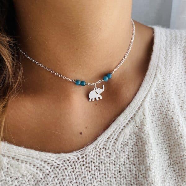 collier argent elephant